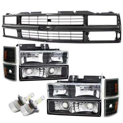Chevy 2500 Pickup 1994-1998 Black Grille and LED Headlights Conversion Kit