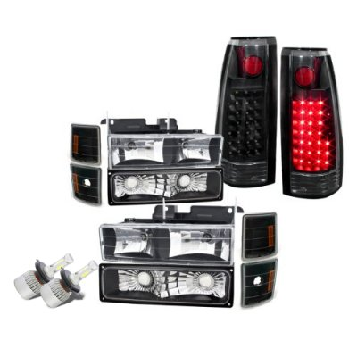 Chevy Silverado 1994-1998 Black LED Headlights Conversion LED Tail Lights
