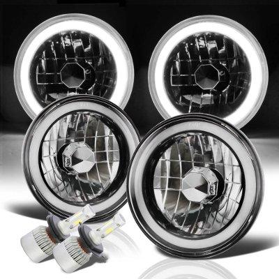 Jeep Wrangler 1997-2006 Halo Tube Black Chrome LED Headlights Kit