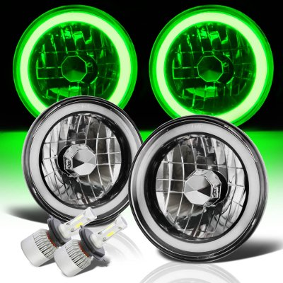 Chevy C10 Pickup 1967-1979 Green Halo Tube Black Chrome LED Headlights Kit