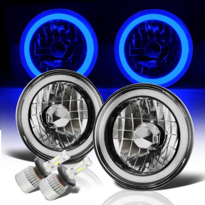 VW Rabbit 1975-1978 Blue Halo Tube Black Chrome LED Headlights Kit
