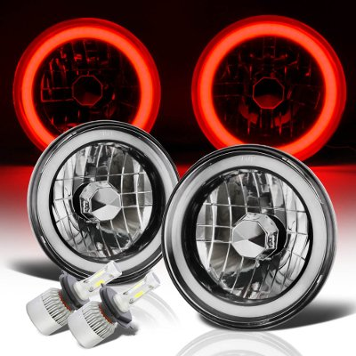 Jeep Wrangler 1997-2006 Red Halo Tube Black Chrome LED Headlights Kit