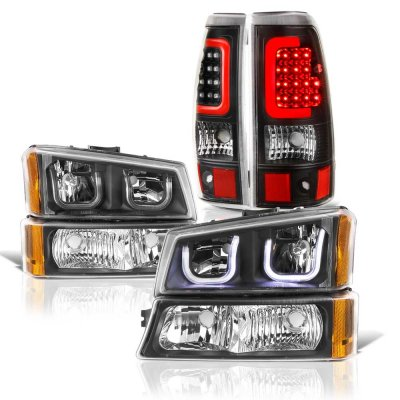 Chevy Silverado 2500HD 2003-2006 Black LED DRL Headlights LED Tail Lights Red Tube