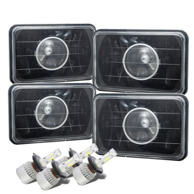 Pontiac LeMans 1976-1977 Black LED Projector Headlights Conversion Kit Low and High Beams