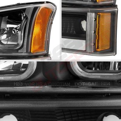 Chevy Silverado 2003-2006 Black LED DRL Headlights Tube Bumper Lights
