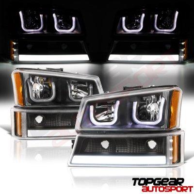 Chevy Silverado 2500 2003 2004 Black Led Drl Headlights Tube Bumper