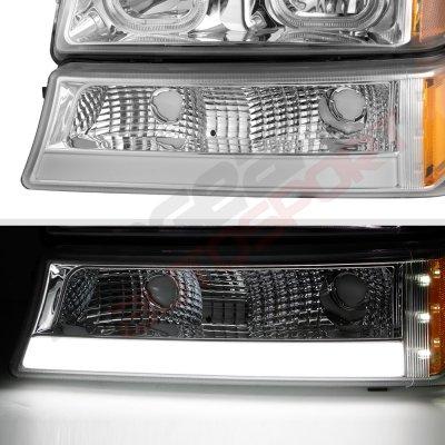 Chevy Silverado 2500HD 2003-2006 LED DRL Headlights Tube Bumper Lights