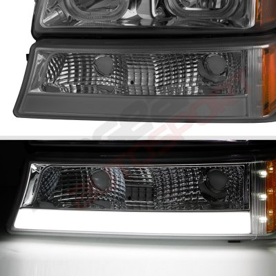 Chevy Silverado 2500HD 2003-2006 Smoked LED DRL Headlights Tube Bumper Lights