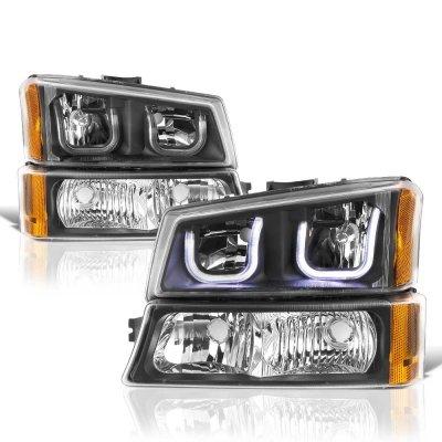 Chevy Silverado 2003-2006 Black LED DRL Headlights Bumper Lights