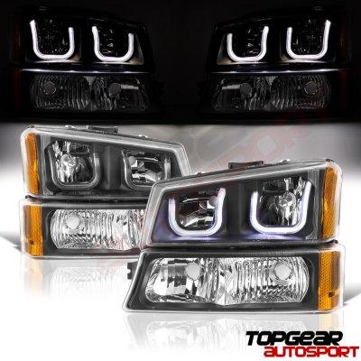 Chevy Silverado 2500 2003-2004 Black LED DRL Headlights Bumper Lights