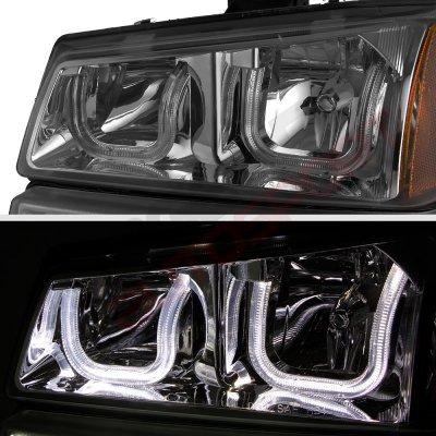 Chevy Silverado 2500HD 2003-2006 Smoked LED DRL Headlights Bumper Lights