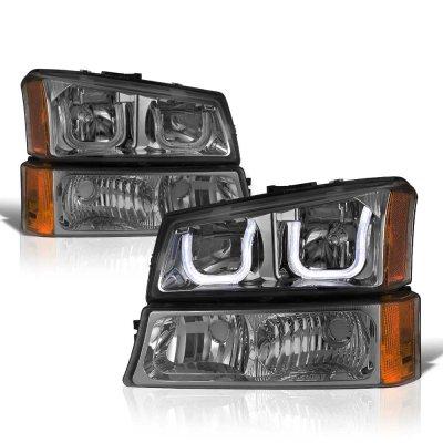 Chevy Silverado 3500 2003-2006 Smoked LED DRL Headlights Bumper Lights