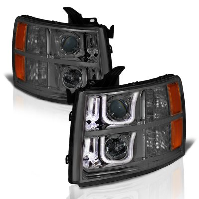 Chevy Silverado 2500HD 2007-2014 Smoked LED DRL Projector Headlights