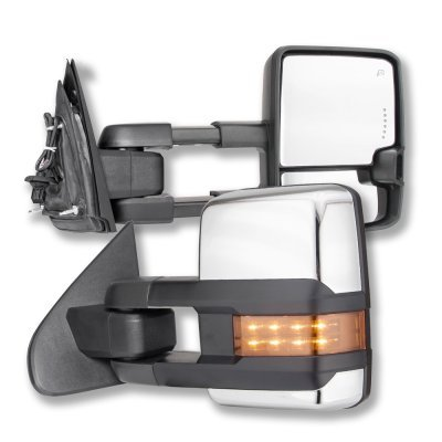 Chevy Silverado 2014-2018 Chrome Power Folding Towing Mirrors LED Lights Heated