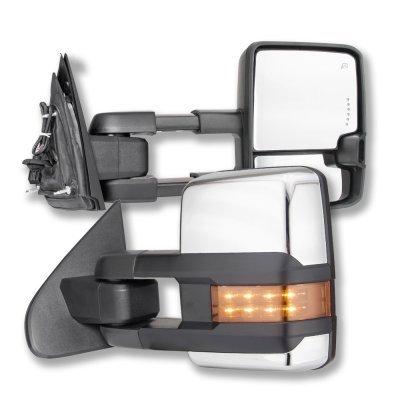 GMC Sierra 2014-2018 Chrome Power Folding Towing Mirrors LED Lights Heated