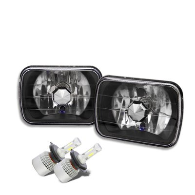 GMC Sierra 1988-1998 Black Chrome LED Headlights Conversion Kit