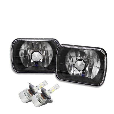 Jeep Grand Wagoneer 1987-1991 Black Chrome LED Headlights Conversion Kit