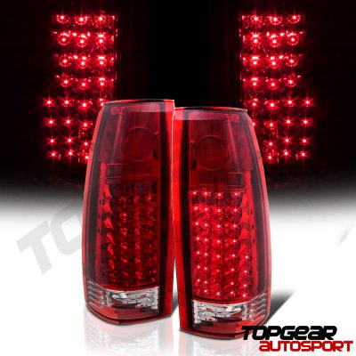 Chevy 2500 Pickup 1988-1998 LED Tail Lights Red Clear