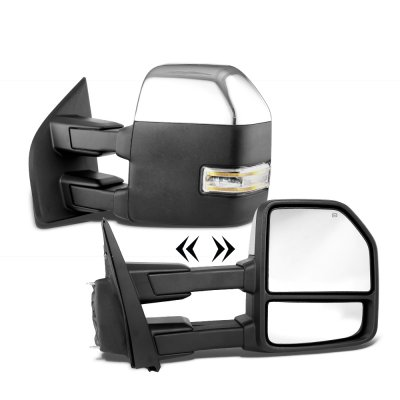 Ford F250 Super Duty 2017-2019 Chrome Power Heated Towing Mirrors LED Signal