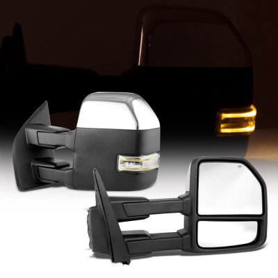 Ford F350 Super Duty 2017-2020 Chrome Power Heated Towing Mirrors LED Signal