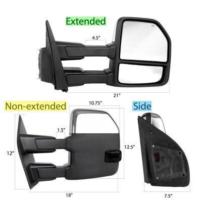 Ford F250 Super Duty 2017-2020 Chrome Power Heated Towing Mirrors Smoked LED Signal