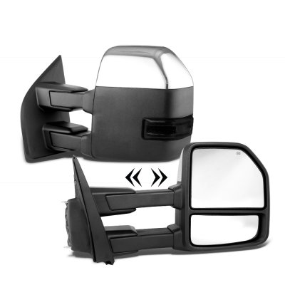 Ford F250 Super Duty 2017-2021 Chrome Power Heated Towing Mirrors Smoked LED Signal