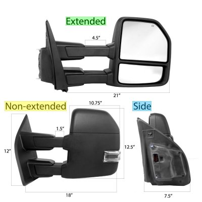 Ford F450 Super Duty 2017-2018 Power Heated Towing Mirrors LED Signal