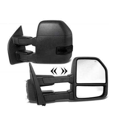 Ford F250 Super Duty 2017-2018 Power Heated Towing Mirrors Smoked LED Signal