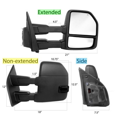 Ford F350 Super Duty 2017-2018 Power Heated Towing Mirrors Smoked LED Signal