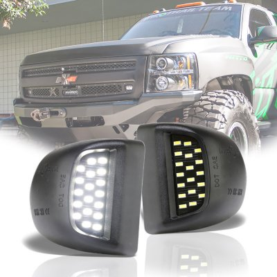 Chevy Silverado 2500HD 2001-2002 White LED License Plate Light Kit