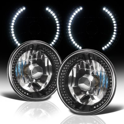 Plymouth Barracuda 1972-1974 7 Inch LED Black Chrome Sealed Beam Headlight Conversion