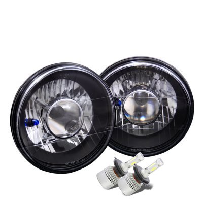 Ford F150 1975-1977 Black Chrome LED Projector Headlights Kit