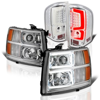 Chevy Silverado 2007-2013 Clear Custom DRL Projector Headlights LED Tail Lights
