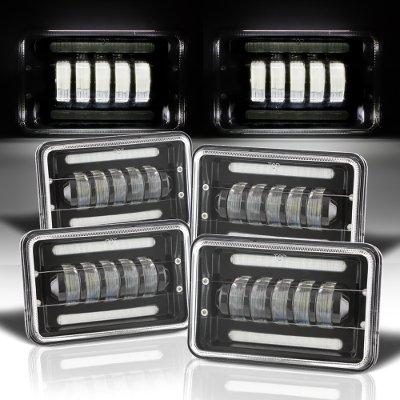 Cadillac Eldorado 1975-1985 Black DRL LED Headlights Conversion Low and High Beams
