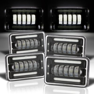 Chevy Celebrity 1982-1986 Black DRL LED Headlights Conversion Low and High Beams