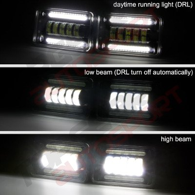 Chevy Camaro 1982-1992 Black DRL LED Headlights Conversion Low and High Beams