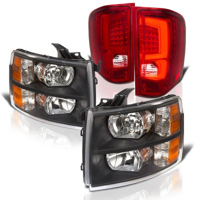 Chevy Silverado 2007-2013 Black Headlights and Red Custom LED Tail Lights