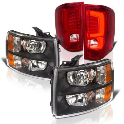Chevy Silverado 2500HD 2007-2014 Black Headlights and Red Custom LED Tail Lights