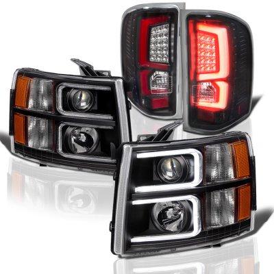 Chevy Silverado 2007-2013 Black Custom DRL Projector Headlights LED Tail Lights Red Tube