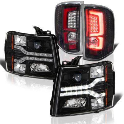 Chevy Silverado 2500HD 2007-2014 Black Facelift DRL Projector Headlights Custom LED Tail Lights Red Tube