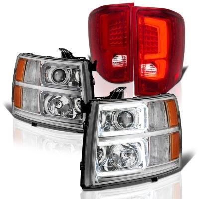 Chevy Silverado 2007-2013 Custom DRL Projector Headlights LED Tail Lights