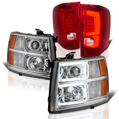 Chevy Silverado 2500HD 2007-2014 Custom DRL Projector Headlights LED Tail Lights