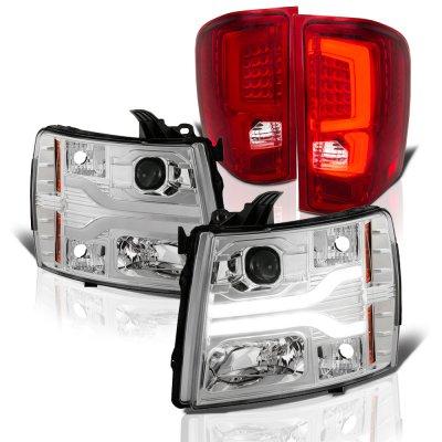 Chevy Silverado 2007-2013 Tube DRL Projector Headlights Custom LED Tail Lights