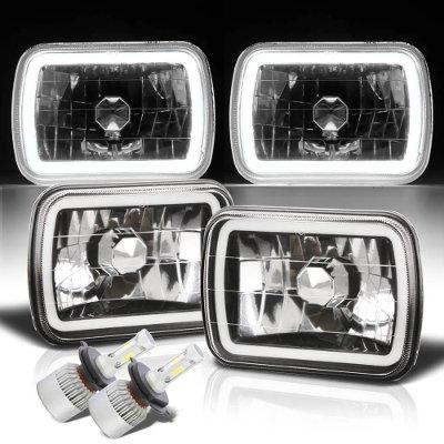 Chevy 1500 Pickup 1988-1998 Halo Tube Black Chrome LED Headlights Kit