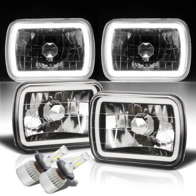 Ford F250 1999-2004 Halo Tube Black Chrome LED Headlights Kit