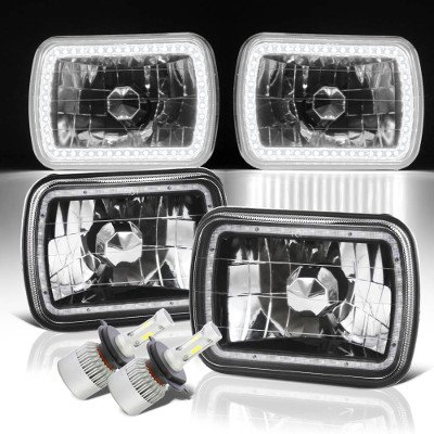 Dodge Ram 250 1981-1993 SMD Halo Black Chrome LED Headlights Kit