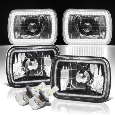Jeep Grand Wagoneer 1987-1991 SMD Halo Black Chrome LED Headlights Kit