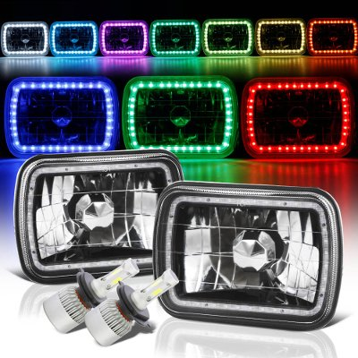 Chevy Tahoe 1995-1999 Color SMD Halo Black Chrome LED Headlights Kit Remote