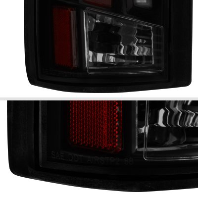 Chevy 1500 Pickup 1988-1998 Black Smoked Tube LED Tail Lights
