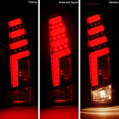 GMC Sierra 1988-1998 Black Smoked Tube LED Tail Lights